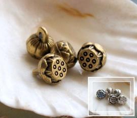 set/2 Spacer Bedels: Lotus - 9x8 mm - Antiek Zilver of Brons kleur Metaal