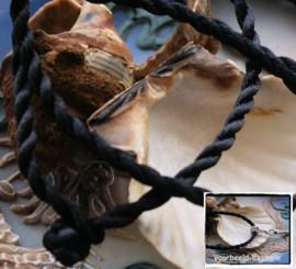 Set/5 Koord Armbanden - ca 19 cm - Zwart - ook leuk voor bedels