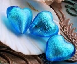 1 Grote SILVERFOIL Kraal: Hart - 20 mm - Aqua Blauw