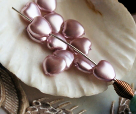 set/9 Kralen: Parel Hartje - 8 mm - Misty-Rose Roze