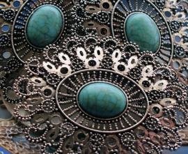 Grote Gedetailleerde Hanger: 79 mm - Turquoise Kleur