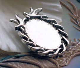 1 Hanger voor Cabochon(s) -  Vogels - 37x26 mm - Antiek Zilver Kleur