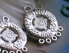set/2 Hangers/5-Rij Verdelers/Chandelier: Mantra - 30 mm - Zilver Kleur Metaal