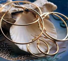 Paar Oorbellen/Creolen: Ringen (voor bedel naar keuze) - 25 tot 50 mm - Goud kleur