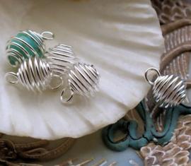 set/4 Hangers Kooitje 11 mm: voor Kraal/Edelsteen van ca 6-8 mm - Zilver Kleur