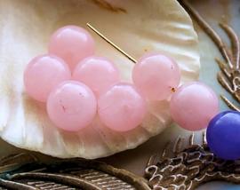 set/5 kralen: echt Rozenkwarts - Rond - 10,5 mm - Licht Roze