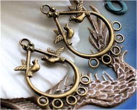 1 Hanger of (Oorbel) Chandelier - Vogels - 35 mm - Antiek Koper/Brons