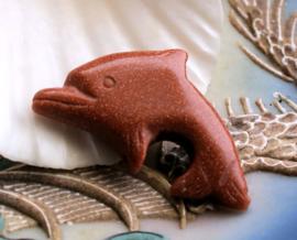 Kraal/Hanger: Dolfijn van echt Rood Goudsteen - 36 mm