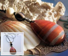 C&G Hanger aan veter: Prachtig echt Jaspis (45 mm) & Horn/Bone