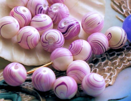 set/8 Luxe Kralen: Glas met Paarlemoer glans - Rond - 8 mm - Violet Roze + Wit