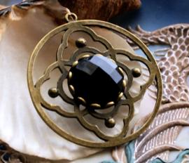 Mooie Grote Hanger met Zwart facet 'Kristal' - 46 mm - Antiek Koper/Brons Kleur
