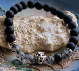 Dames/Heren Armband: Leeuw met Zwart Agaat & Dragon Veins Agaat - Zilver Kleur