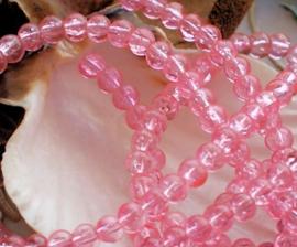 set/20 kralen: Crackle - Rond - 4,5 mm - Licht Roze