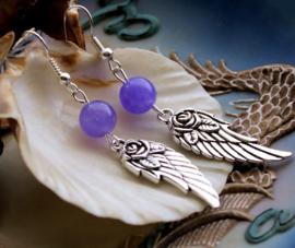 Paar C&G Oorbellen: Vleugels met Roosje & echt Paars Jade - 60 mm