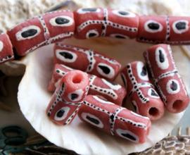 set/2 Grote Krobo TRADE BEADS - Handelskralen uit Ghana - Glas - ca 20-22 mm - Roze  Wit Zwart