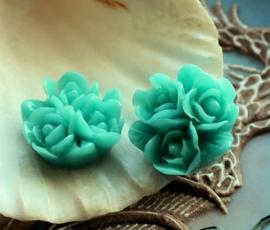 1 Cabochon van Kunststof: Roosjes - 17 mm - Aqua Blauw/Turquoise