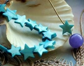 set/5 Kralen: Paarlemoer Schelp - STER - 10-12 mm - Aqua Blauw