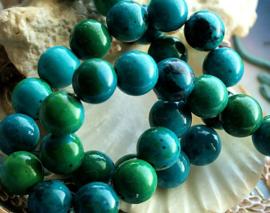 set/3 grote kralen: Prachtig Im. CHRYSOCOLLA - Rond - 10 mm - Groen Azuurblauw