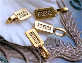 set/5  Bedeltjes of Clips/Hangers voor Cabochons - 21x7 mm - Antiek Goud Kleur