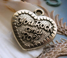 Pendant: Heart - You Rock and Roll - 31 mm - Antique Silver tone