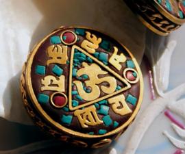 1 Gebedskraal uit Nepal: Ohm Mantra - 30 mm -  Turquoise Koraal & Koper