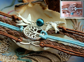 Armband 'Birds + Tree of Life' 5-rij in Imitatie Suède/Leer - Aqua Blauw & Bruin