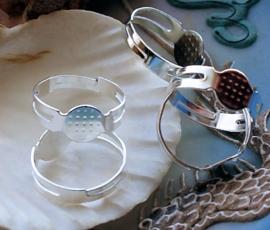 set/3 Ringen voor Cabochons - Plak Ringen - Verstelbaar - Zilver Kleur - 8 mm plakstuk