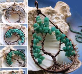 Hanger: Levensboom - Amazoniet, Turquoise Howliet of Labradoriet & Rood Koper - 63 of 79 mm