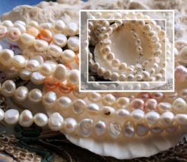 C&G Collier: echte Zoetwater Parels Wit of Wit met Zalm/Oranje