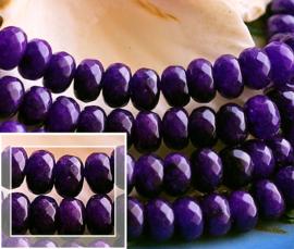 set/5 kralen: Echt Jade - Facet Disc - 8x5 mm - Donker Violet Paars