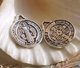 1 Dubbelzijdige Bedel: Jezus - 22x18 mm - Antiek Zilver Kleur