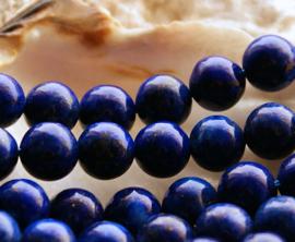 set/6 Kralen: echt Lapis Lazuli - Rond - 8 mm - Donkerblauw