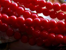 set/10 kralen: Glas - Rond - 8 mm - Koraal-Rood