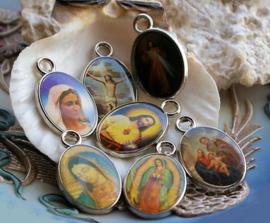 1 Hanger: Icoon - Maria Jezus Religieus - 25 mm - Antiek Zilver Kleur - Opties 1-10