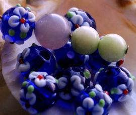 1 Mooie Lampwork Kraal - Bloem - Rond - 11x10 mm - Kobalt Blauw