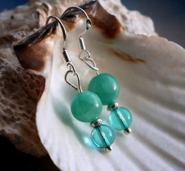 Paar C&G Oorbellen: echt Jade - Aqua/Turquoise