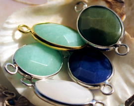1 Hanger/Tussenstuk: Facet Jade in Aqua/Turquoise of Donkerblauw of Moss-Groen of Wit - 32x16 mm