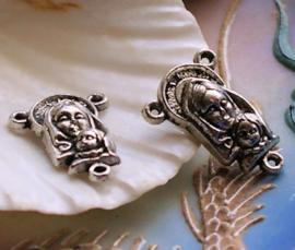 set/2 Rozenkrans Ornament - Tussenstukje Verdeler - 22 mm - Maria Jezus - Antiek Zilver Kleur