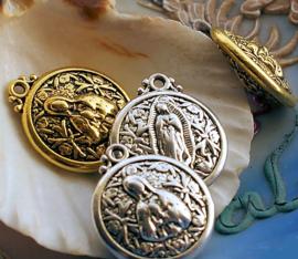 1 Dubbelzijdige Hanger/Bedel: Maria - 24 mm - Antiek Zilver of Antiek Goud Kleur