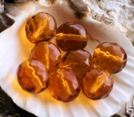 set/7 Kralen: CZECH GLASS - Facet - 12 mm - Amber