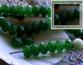 set/5 kralen: Echt Candy Jade - Facet Disc - 8x5 mm - Imperial Donker Groen