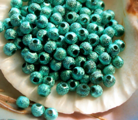 set/50 Kralen: Metal Look STARDUST - Rond - 4 mm - Metallic Turquoise