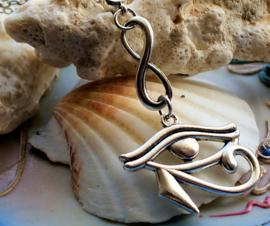 Hanger aan ketting: Egypte - Oog van Horus & Infinity symbool