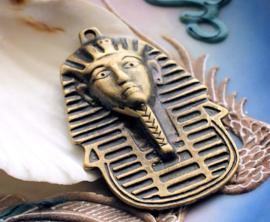 Grote Hanger: Egypte Farao - Pharao - 50x35 mm - Antiek Koper/Brons Kleur