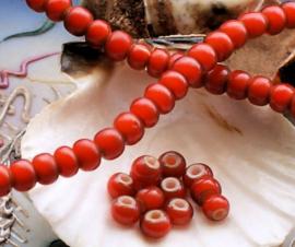 set/20 ANTIEKE TRADE BEADS Handelskralen: Afrika Europa - White Heart - ca 6 mm - Rood-Oranje