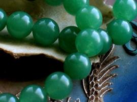 set/5 kralen: echt Groen Amethist - Rond - 10 mm