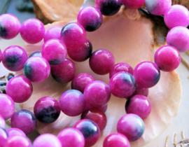 set/5 kralen: echte JADE - Rond - 8 mm - Roze Violet Blauw-Groen