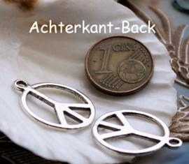 set/3 Bedels: Vredesteken - PEACE - 21x17 mm - Antiek Zilver Kleur Metaal