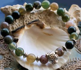 Dames/Heren Armband: Cheetah met Agaat Mix - Zilver Kleur