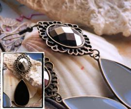 Paar Oorbellen: Baroque Barok - Bronskleur met Zwart - 80 mm